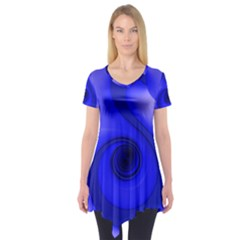 Blue Spiral Note Short Sleeve Tunic