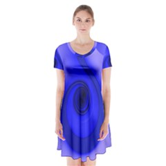 Blue Spiral Note Short Sleeve V-neck Flare Dress