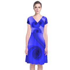 Blue Spiral Note Short Sleeve Front Wrap Dress