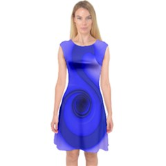 Blue Spiral Note Capsleeve Midi Dress