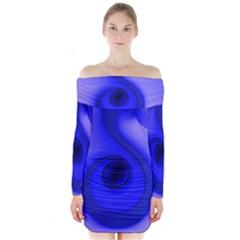 Blue Spiral Note Long Sleeve Off Shoulder Dress
