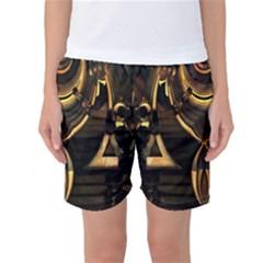 Golden metallic abstract modern art Women s Basketball Shorts