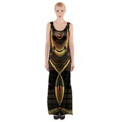 Golden metallic abstract modern art Maxi Thigh Split Dress