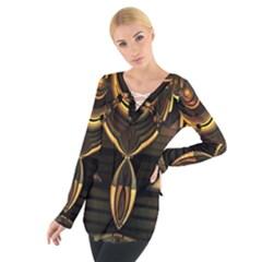 Golden metallic abstract modern art Women s Tie Up Tee