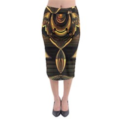 Golden Metallic Abstract Modern Art Midi Pencil Skirt
