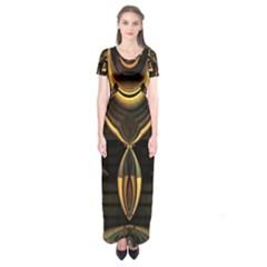 Golden Metallic Abstract Modern Art Short Sleeve Maxi Dress