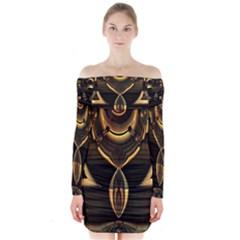 Golden metallic abstract modern art Long Sleeve Off Shoulder Dress