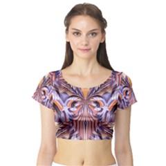Fire Goddess Abstract Modern Digital Art  Short Sleeve Crop Top (Tight Fit)