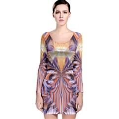 Fire Goddess Abstract Modern Digital Art  Long Sleeve Velvet Bodycon Dress