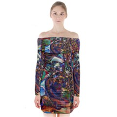 Las Vegas Nevada Ghosts Long Sleeve Off Shoulder Dress