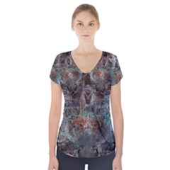 1a Mirror Lost Abstract  (2) Short Sleeve Front Detail Top