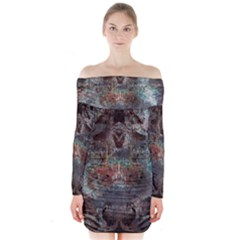 1a Mirror Lost Abstract  (2) Long Sleeve Off Shoulder Dress