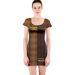 Metallic Geometric Abstract Urban Industrial Futuristic Modern Digital Art Short Sleeve Bodycon Dress
