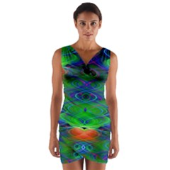 Neon Night Dance Party Wrap Front Bodycon Dress