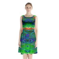 Neon Night Dance Party Sleeveless Chiffon Waist Tie Dress