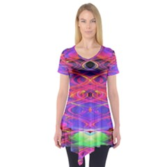 Neon Night Dance Party Pink Purple Short Sleeve Tunic