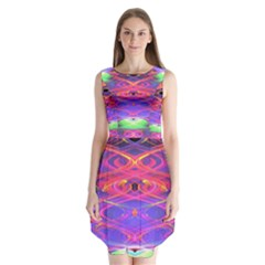 Neon Night Dance Party Pink Purple Sleeveless Chiffon Dress