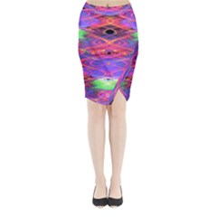 Neon Night Dance Party Pink Purple Midi Wrap Pencil Skirt