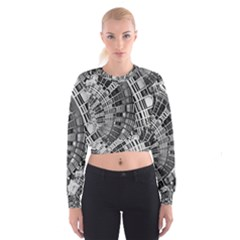Semi Circles Abstract Geometric Modern Art Women s Cropped Sweatshirt