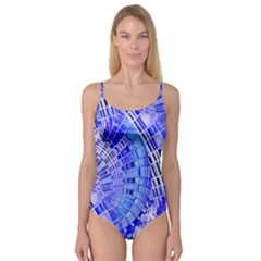Semi Circles Abstract Geometric Modern Art Blue  Camisole Leotard