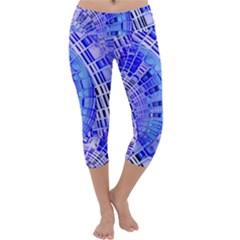Semi Circles Abstract Geometric Modern Art Blue  Capri Yoga Leggings