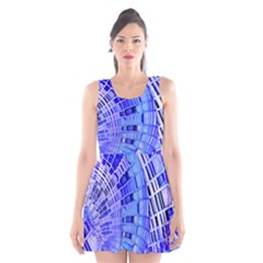 Semi Circles Abstract Geometric Modern Art Blue  Scoop Neck Skater Dress