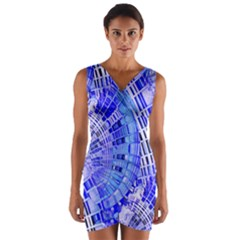 Semi Circles Abstract Geometric Modern Art Blue  Wrap Front Bodycon Dress