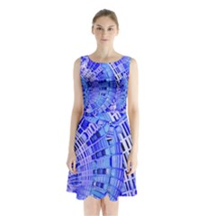 Semi Circles Abstract Geometric Modern Art Blue  Sleeveless Chiffon Waist Tie Dress