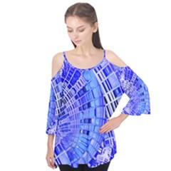 Semi Circles Abstract Geometric Modern Art Blue  Flutter Tees