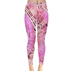 Pretty Pink Circles Curves Pattern Leggings