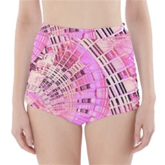 Pretty Pink Circles Curves Pattern High Waisted Bikini Bottoms