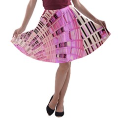 Pretty Pink Circles Curves Pattern A-line Skater Skirt