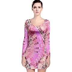 Pretty Pink Circles Curves Pattern Long Sleeve Velvet Bodycon Dress