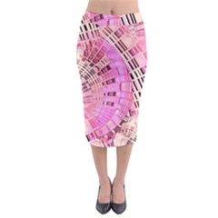 Pretty Pink Circles Curves Pattern Midi Pencil Skirt