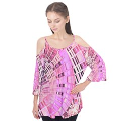 Pretty Pink Circles Curves Pattern Flutter Sleeve Tee