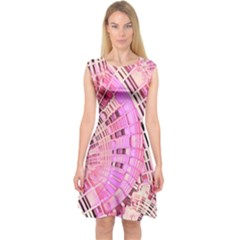 Semi circles abstract modern art pink Capsleeve Midi Dress