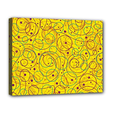 Yellow abstract art Canvas 14  x 11