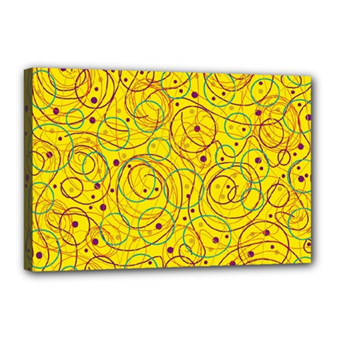 Yellow abstract art Canvas 18  x 12