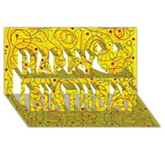 Yellow abstract art Happy Birthday 3D Greeting Card (8x4)