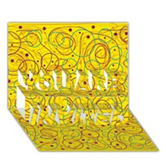 Yellow abstract art YOU ARE INVITED 3D Greeting Card (7x5)