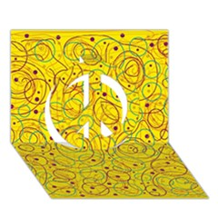 Yellow abstract art Peace Sign 3D Greeting Card (7x5)