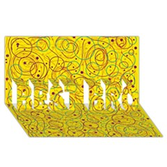 Yellow Abstract Art Best Bro 3d Greeting Card (8x4)