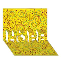 Yellow abstract art HOPE 3D Greeting Card (7x5)