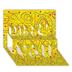 Yellow Abstract Art Miss You 3d Greeting Card (7x5)