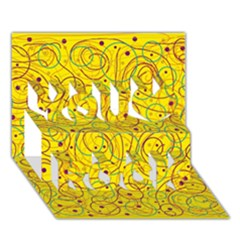 Yellow abstract art You Rock 3D Greeting Card (7x5)