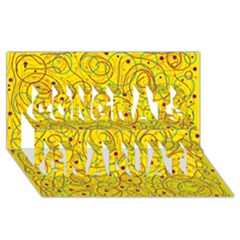 Yellow abstract art Congrats Graduate 3D Greeting Card (8x4)