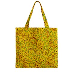 Yellow abstract art Zipper Grocery Tote Bag