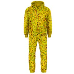 Yellow abstract art Hooded Jumpsuit (Men)