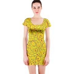 Yellow abstract art Short Sleeve Bodycon Dress