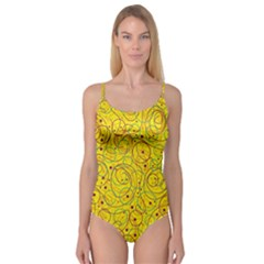Yellow abstract art Camisole Leotard